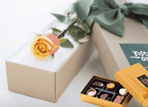 Single Cherry Brandy Rose Gift Box & Gold Godiva Chocolates - Roses Only