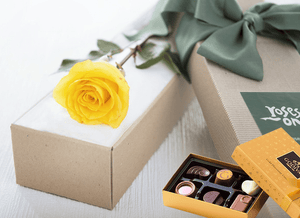 Single Yellow Rose Gift Box & Gold Godiva Chocolates
