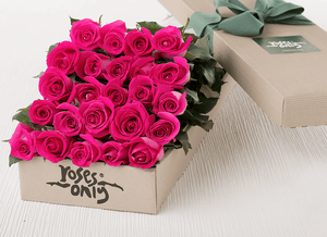 24 Bright Pink Roses Gift Box - Roses Only