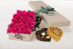 Mothers Day 24 Bright Pink Roses Gift Box & Gold Godiva Chocolates