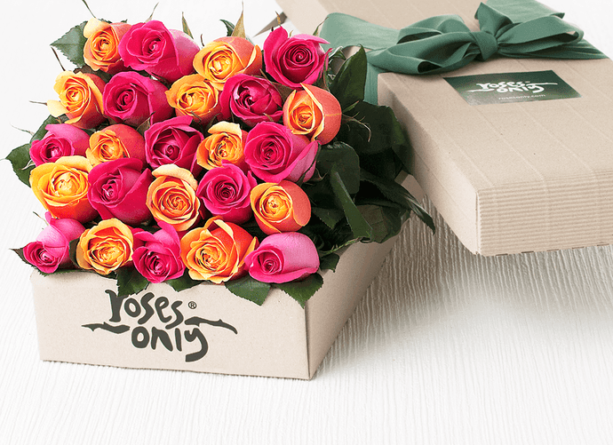 24 Bright Mixed Roses Gift Box - Roses Only