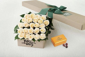 Mother's Day 24 White Cream Roses Gift Box &  Gold Godiva Chocolates