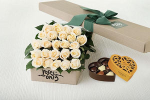 White Cream Roses Gift Box 24 & Godiva Chocolates