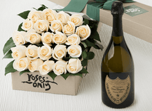 24 White Cream Roses Gift Box & Champagne - Roses Only
