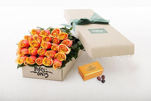 24 Cherry Brandy Roses Gift Box & Gold Godiva Chocolates