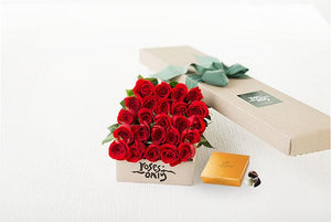 Red Roses Gift Box 24 & Godiva Chocolates