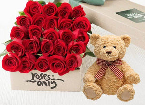 Red Roses Gift Box & Teddy Bear - 24 Long Stem Roses