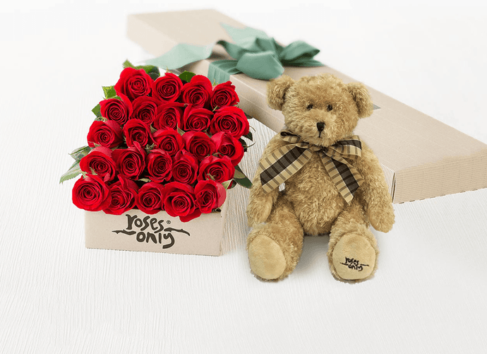 24 Red Roses Valentines Gift Box & Teddy Bear - Roses Only