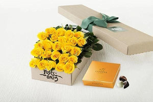 Mother's Day 24 Yellow Roses Gift Box & Gold Godiva Chocolates