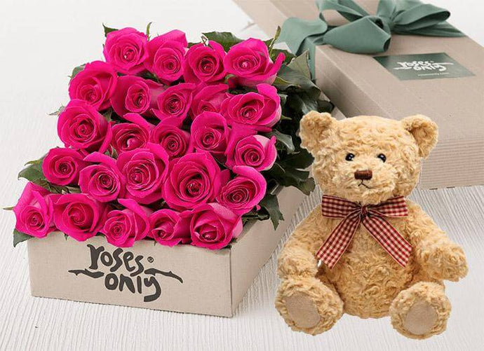 Bright Pink Roses Gift Box & Teddy Bear - 24 Long Stem Roses