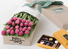 Mother's Day  24 French Tulips Gift Box &  Godiva Chocolates - Roses Only