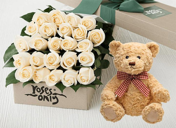 White Cream Roses Gift Box 24 & Teddy Bear