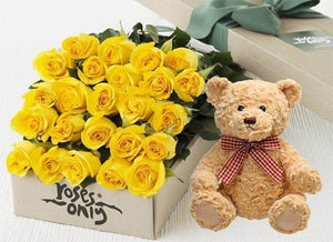 Yellow Roses Gift Box 24 & Teddy Bear