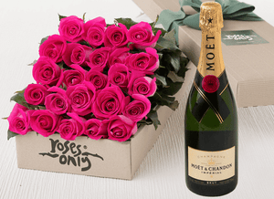 24 Bright Pink Roses Gift Box & Champagne - Roses Only