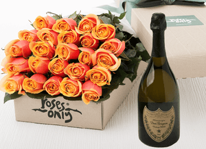 24 Cherry Brandy Roses Gift Box & Champagne - Roses Only
