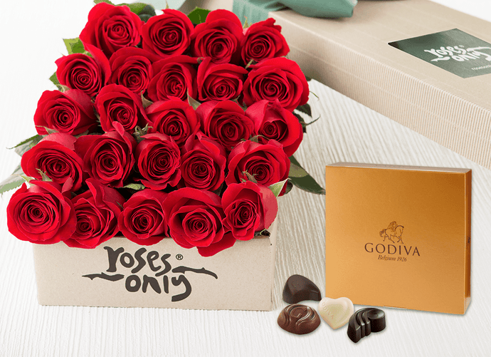 24 Red Roses Valentines Gift Box & Godiva Chocolates - Roses Only