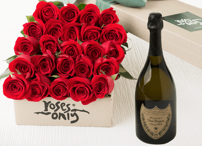24 Red Roses Gift Box & Champagne - Roses Only