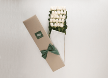 24 White Cream Roses Gift Box & Teddy Bear - Roses Only
