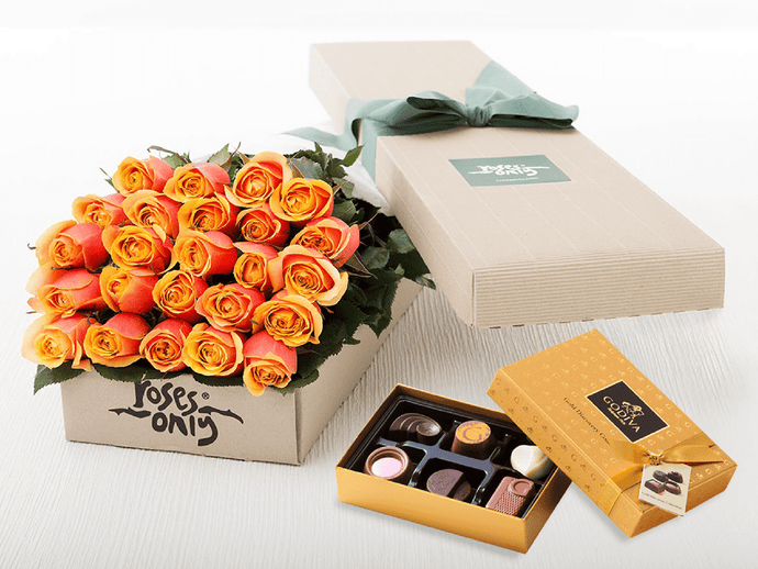 24 Cherry Brandy Roses Gift Box & Gold Godiva Chocolates - Roses Only