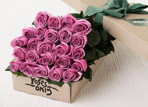 Mauve Roses Gift Box - 24 Long Stem Roses
