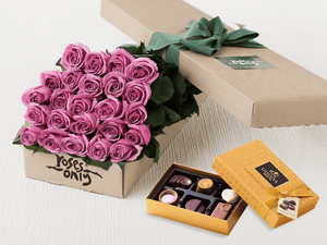 24 Mauve Roses Gift Box & Gold Godiva Chocolates - Roses Only