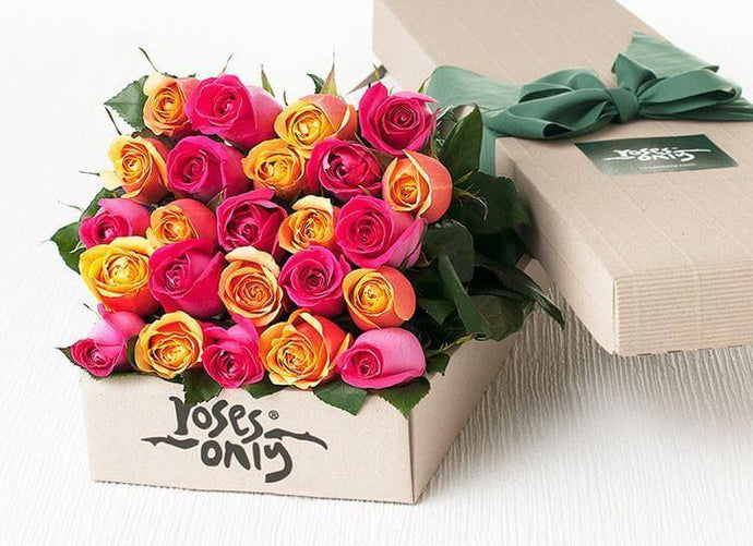 Bright Mixed Roses Gift Box - 24 Long Stem Yellow and Pink Roses