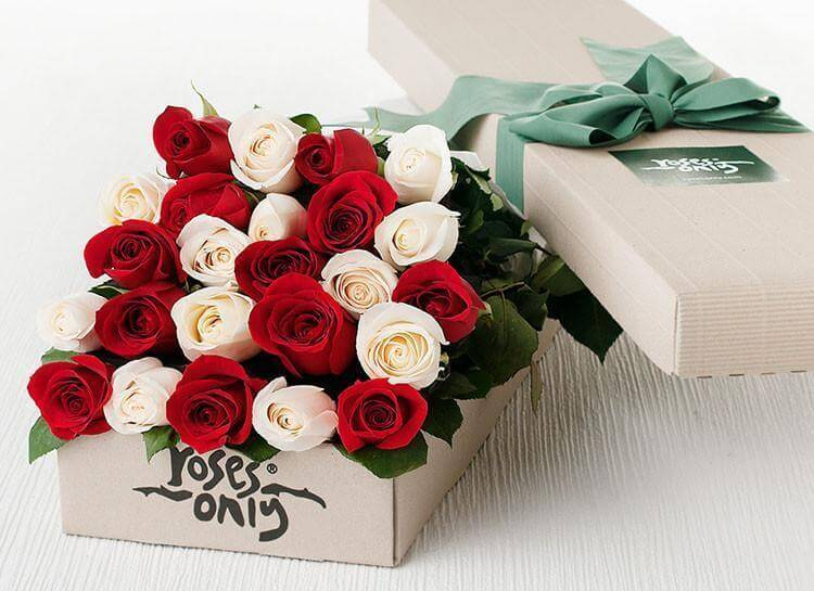 24 Romantic Mixed Roses Gift Box