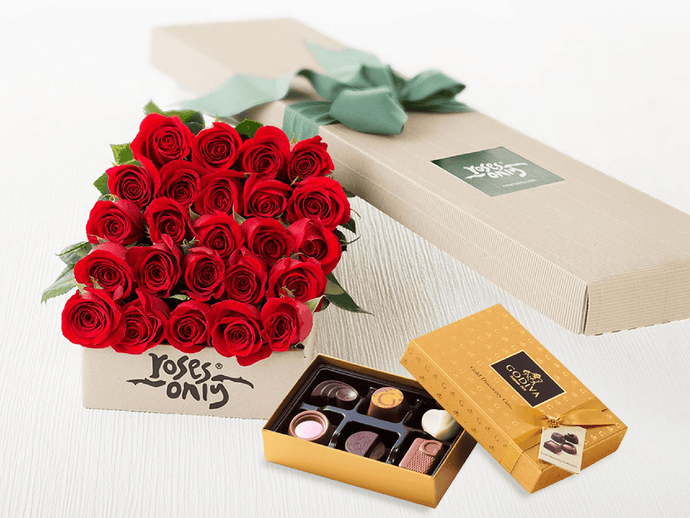 24 Red Roses Gift Box & Gold Godiva Chocolates - Roses Only