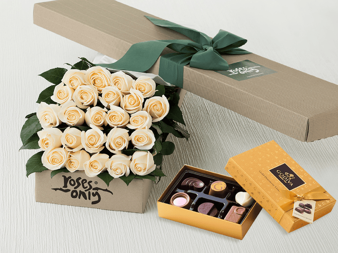 24 White Cream Roses Gift Box & Gold Godiva Chocolates - Roses Only