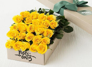 24 Yellow Roses Gift Box - Roses Only