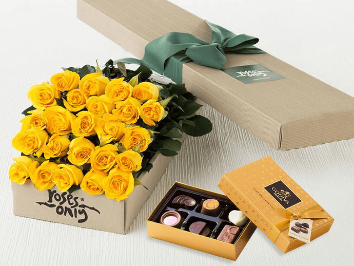 24 Yellow Roses Gift Box & Gold Godiva Chocolates - Roses Only