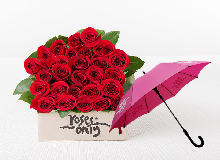 Red Roses Gift Box 24 & Umbrella