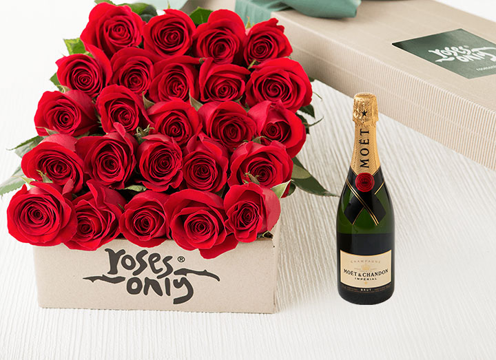 Red Roses Gift Box 24 & Moet Chandon Brut Imperial (375ml)