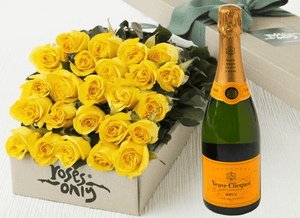 24 Yellow Roses Gift Box & Champagne - Roses Only
