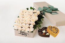36 White Cream Roses Gift Box & Gold Godiva Chocolates