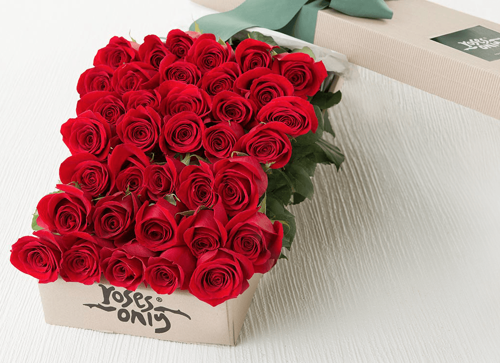 36 Red Roses Valentines Gift Box - Roses Only
