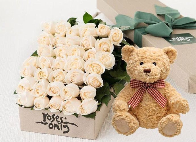 White Cream Roses Gift Box 36 & Teddy Bear