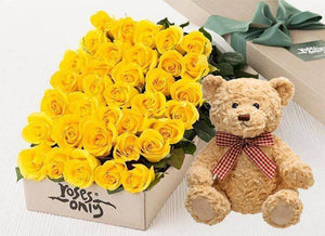 Yellow Roses Gift Box 36 & Teddy Bear