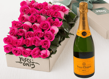 36 Bright Pink Roses Gift Box & Champagne - Roses Only