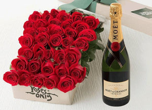 36 Red Roses Gift Box & Champagne - Roses Only
