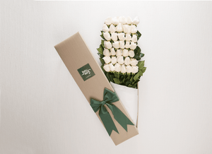 White Cream Roses Gift Box 100