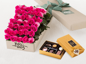 36 Bright Pink Roses Gift Box & Gold Godiva Chocolates - Roses Only