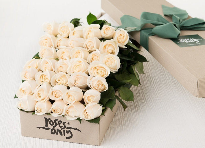 36 White Cream Roses Gift Box - Roses Only