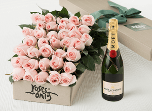 36 Pastel Pink Roses Gift Box & Champagne - Roses Only
