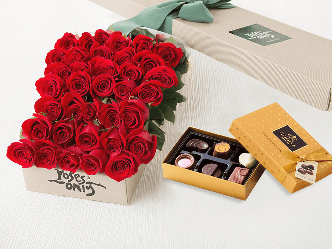 36 Red Roses Gift Box & Gold Godiva Chocolates - Roses Only