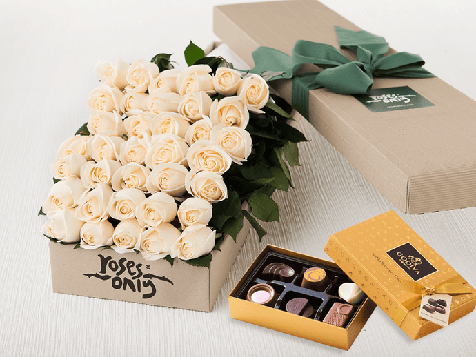 36 White Cream Roses Gift Box & Gold Godiva Chocolates - Roses Only