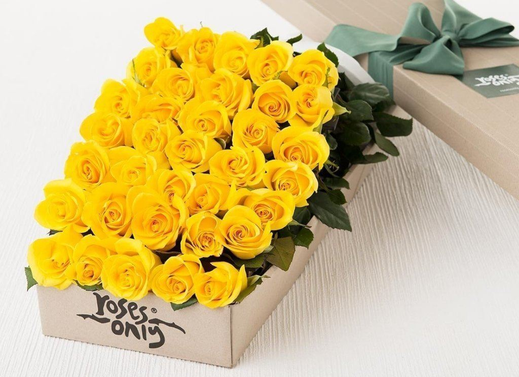 36 Yellow Roses Gift Box - Roses Only