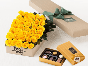 36 Yellow Roses Gift Box & Gold Godiva Chocolates - Roses Only