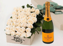 36 White Cream Roses Gift Box & Champagne - Roses Only