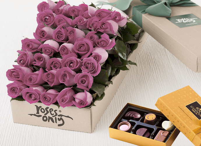 36 Mauve Roses Gift Box & Gold Godiva Chocolates - Roses Only